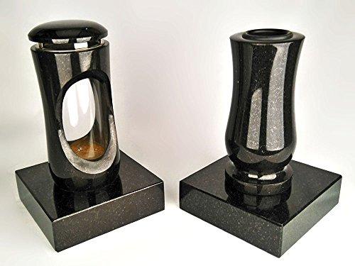 designgrab Design small Grablampe mit Vase und 2 Stück Sockel aus Granit Schwedisch Black SS1 schwarz, Grabschmuckset