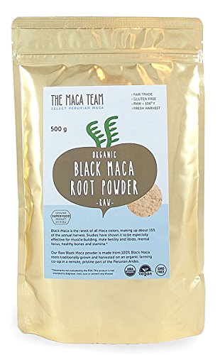 Schwarzes Maca Pulver, roh – 500g – bio- zertifiziert, traditionell angebaut und geerntet in Peru, Fair Trade, gentechnikfrei, glutenfrei, vegan, 50 Portionen
