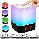 Lámpara de noche Altavoz Bluetooth Sensor Táctil, Swonuk 5 en 1 USB Recargable Lámpara de Noche portátil de Luz Cálida Regulable Despertador Reproductor de MP3 Tarjeta Micro SD/USB/Reloj Despertador