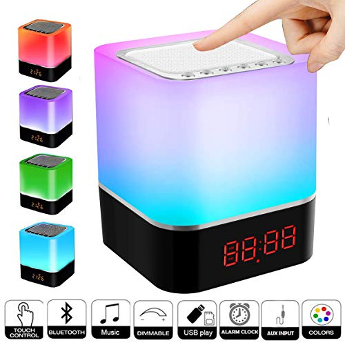 Bluetooth Lautsprecher Lampen, Swonuk Nachttischlampe mit Bluetooth Lautsprecher 5 in 1 USB Wiederaufladbar Touchlampe mit 12/24H Digital Wecker, Dimmbar, Freisprechen, MP3-Player, Lautsprecher -