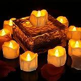 Flammenlose LED Kerzen Teelichter mit Timer, 12 Packs Gelb Flackernde Kerzen Timer 6 Stunden Batteriebetrieb für Table Center, Geburtstag, Party Dekorationen