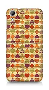 Amez designer printed 3d premium high quality back case cover for HTC Desrie 826 (Background heart many colorful texture)