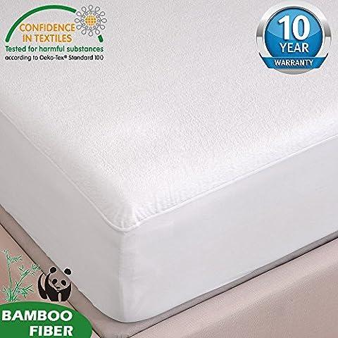 TOFERN Protège Matelas Alèse Bambou 100% Imperméable Anti-acariens Antibactérien Respirant Ultra Doux Silencieux Résistant aux Lavages Forme Drap Housse 180x190/200