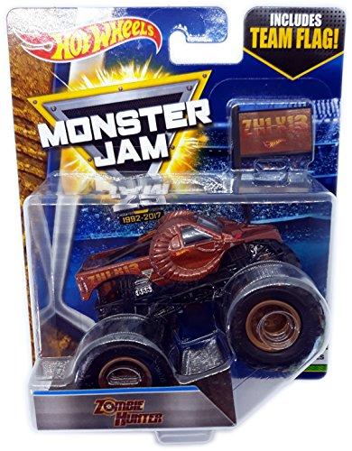 Hot Wheels Monster Jam - 1:64 Escala de Camiones coleccionables con Monster Jam Team Flag de Hot Wheels (Zombie Hunter)
