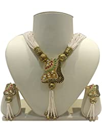 Ratnatray Metallic Heavy Pendant Long Multilayered White Beads Necklace And Ear Tops | Traditional Stylish Ethnic...