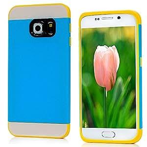 YOKIRIN coque de protection pour samsung galaxy s6 edge case (curved screens) (pas pour s6) pC tPU 2 en 1 (couleur :  bleu ou jaune) combo matière étui rigide de protection en silicone coque étui case cover case protective phone