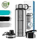 Trinkflasche ACTIVE FLASK Isolierflasche + 3 Trinkverschlüsse | BPA frei - 1l / 0,5 Liter | Vakuum isolierte...