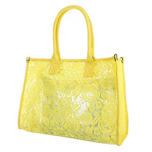 Damen Tasche, Große Tragetasche, Synthetik, TA-A-628 Gelb