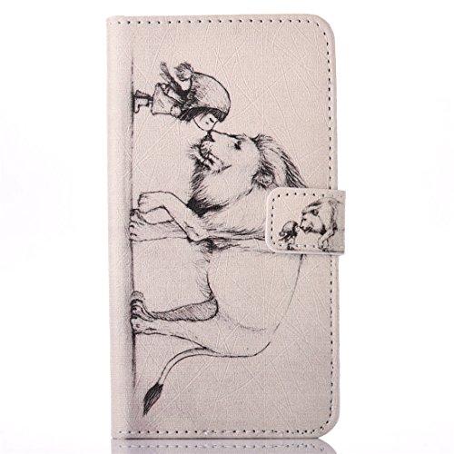 Preisvergleich Produktbild Nancen Samsung Galaxy J5(2016 version) / SM-J510X (5,2 Zoll) Flip Leder Case / Handyhülle, Nette Karikatur Kleines Mädchen Küssen Löwe Muster Folding PU Lederhülle Bookstyle Cover - mit Stand Funktion, Brieftasche und Karte Slot