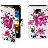 32nd Smartphone-Schutzhülle / Handytasche für Samsung Galaxy S2 i9100, PU-Leder, Kreditkartenfächer, Displayschutzfolie, Reinigungstuch Violett Violette / Rosa