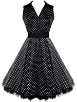 50's V-Neck Prom Polka Dot Dress Black