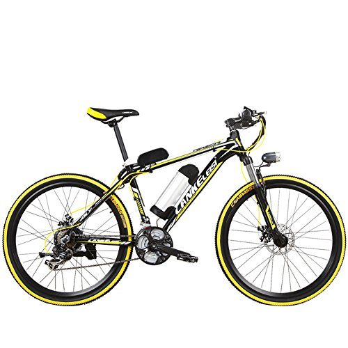 Elektro-Fahrrad extrbici mx3.8Mans E-Bike 43,2x 66cm Aluminium Rahmen, Radaufhängung, Vorne Gabel 240W Motor 48V 10HA Wasser Flasche Halterung Lithium Akku 21Speed Shimano Shift Gears 3Speed Modelle LCD Display doppelte Mechanische Bremse, mit gratis Ladegerät, Schwarz / Gelb