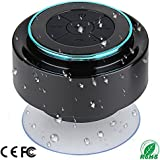 Shower Speaker, IPX7 Portable Fully Waterproof Bluetooth Speaker with FM Radio, Hands-Free Speakerphone. Rechargeable Using Micro USB, Perfect Speaker for Golf, Beach, Shower & Home (Dark Blue)