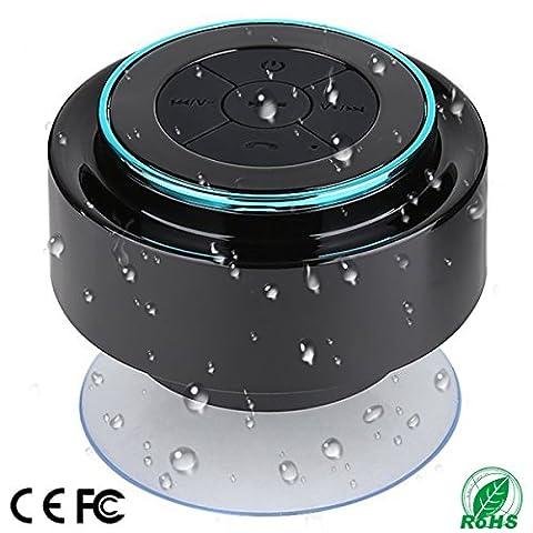 Haut-parleur de douche, haut-parleur Bluetooth entièrement compatible IPX7 avec radio FM, haut-parleur mains libres. Rechargeable à l'aide de micro USB, haut-parleur parfait pour le golf, la plage, la douche et la maison