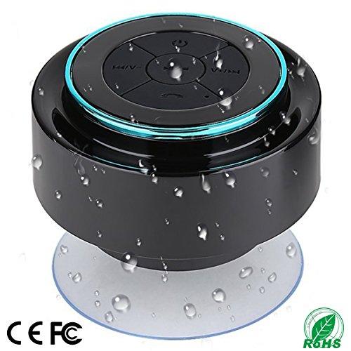 Duschlautsprecher, IPX7 Portable Vollständig wasserdichter Bluetooth Lautsprecher mit FM Radio, Freisprecheinrichtung. Nachladbar unter Verwendung des Mikro-USB, vollkommener Lautsprecher für Golf, Strand, Dusche u. Haus