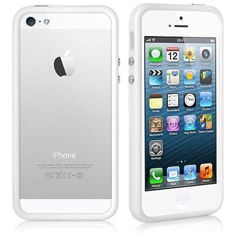 Jante Skin Coque bumper blanc avec boutons en métal pour Apple iPhone SE/5se/5S/5
