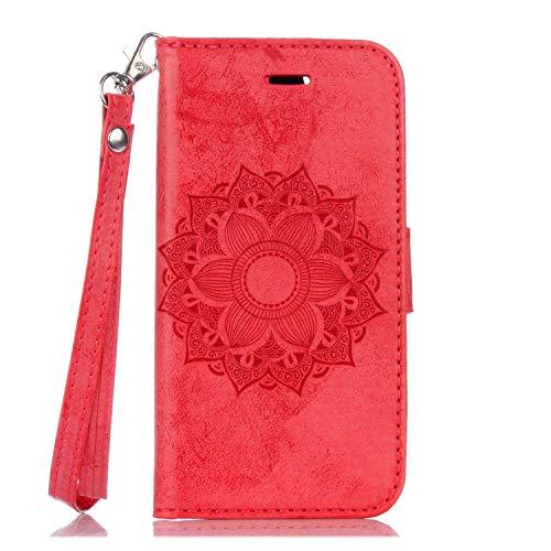 Cover Galaxy S5, Bear Village® Custodia in Pelle con TPU antiurto interno shell, Chiusura Magnetica, Carte Slots, Portafoglio Cover per Samsung Galaxy S5 (#3 Rosso)