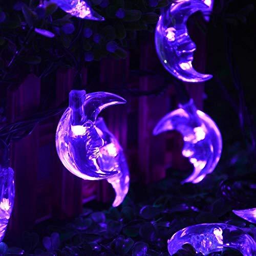 Mond Lichterketten,KINGCOO Wasserdichte 20FT 30LED Mond Solarleuchten Fee Dekorative Nachtlichter für Garten Dachrinne Hofbahn Weg Hochzeitsfest Halloween Weihnachtsbeleuchtung (Lila)