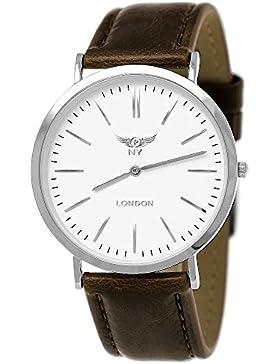 NY London designer Slim Damen/Herren Rinder Leder Armband Uhr Braun Silber Weiß super flach inkl.Uhrenbox