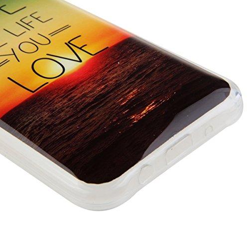 Coque pour Samsung Galaxy S5, Clair Housse en Soft Doux TPU Gel Silicone pour Samsung Galaxy S5, Ekakashop Samsung Galaxy S5 Flexible Souple Cas Back Case Cover de Protection, Ultra Slim Créatif Dessi coucher de soleil océan
