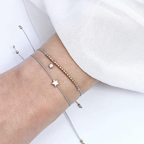 SCHOSCHON Damen Symbol Armband Set SternZirkonia Rosegold