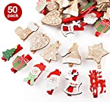 50 Pezzi Natale Addobbi Accessori Wooden Peg Mollette in Legno per Foto Carta Absofine