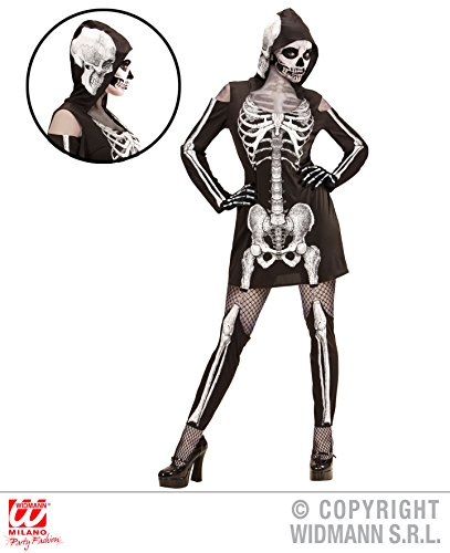 Fancy Kleid Deutsch Damen (Widmann Skelettlady Kleid Kostüm Halloween Damen Skelett Skelettkleid)