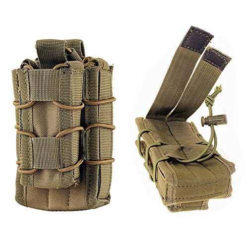 FIRECLUB Tactical Molle Magazine Pouch Open-Top Single Rifle Pistol Mag Pouch AR/M4/M16 Cartridge Clip Pouch Hunting Bag (Tan)
