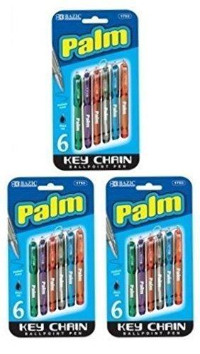 3 Pk, Bazic Palm Key Chain Mini Ballpoint Pen, 6 Per Pack (Total of 18 Pens) by Bazic