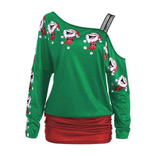 Vêtements LILICAT Mesdames mode mignon Santa impression bustier à manches longues chemise longue robe de chemisier de Noël chemise grande taille M-2XL green