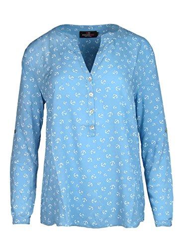 Zwillingsherz Bluse mit Anker Muster - Hochwertiges Oberteil für Damen Mädchen - Langarmshirt Top - T-Shirt - Pullover - Sweatshirt - Hemd für Sommer Herbst und Winter von Cashmere Dreams Blau (Anker-damen T-shirt)