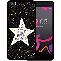 Funda Bq Aquaris M5, WoowCase [ Bq Aquaris M5 ] Funda Silicona Gel Flexible Estrellas Frase - I Love You To The Moon And Back, Carcasa Case TPU Silicona - Negro