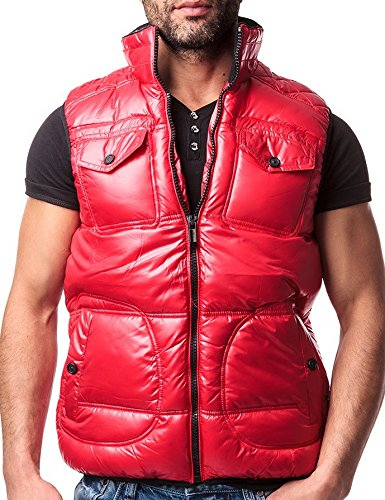 CHICK REBELLE - Gilet -  - Veste damassée - Uni - Sans manche Homme Rouge - Rot
