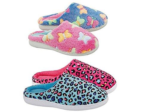 Damen Mädchen Fleece Flatternde Schmetterlinge Weich Warm Gemütlich Schlupfsandale Pantoffel Schuh Größe Eu 36-41 Pink/Leopard