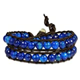 SilberDream leather bracelet with grinded blue agate crystals, women, variable size, leather bracelet genuine leather LAN001