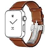 Cinturino Apple Watch 42mm, FOTOWELT 2017 singola fascia di orologio di cuoio con fibbia di installazione del giro con il nuovo chiusura pieghevole in acciaio inox 316L per Apple Visualizza tutti i modelli 42mm (Marrone)