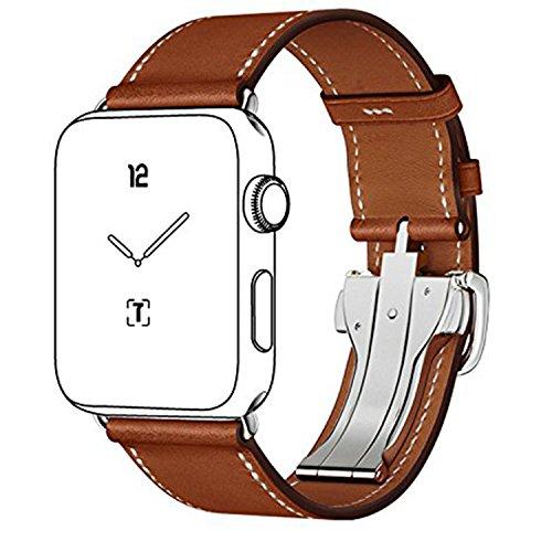 Apfel Uhrenarmband Ersatz 42mm, FOTOWELT Single Tour Deployment Gürtelschnalle Echtes Leder Uhrenarmband mit neuem Faltbare 316L Edelstahl Verschluss für Apple Watch Alle Modelle 42mm (Braun)