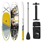KLAR FIT Stand Up Paddle Board Surf • Kauai Flow e Downwind Cruiser 305x10x77cm • all-Round SUP Gonfiabile • Set Completo: Pagaia + Pompa + Sacca Trasporto + Kit di Riparazione • Giallo-Grigio