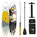 Klarfit Tabla Paddle Surf Hinchable • Kauai Flow & DOWNWIND Cruiser 300x10x77cm Sup Surf • Paddleboard • Bomba de Aire • Pala • Correa de Seguridad • Mochila de Transporte • Kit reparación • Amarillo