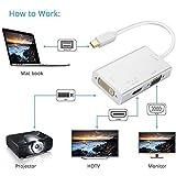 Aironx™ 3-in-1 Mini DisplayPort (Thunderbolt) To DVI VGA HDMI TV Adapter Cable For Apple Mac Book Mac Pro Mac Air Mac Mini White