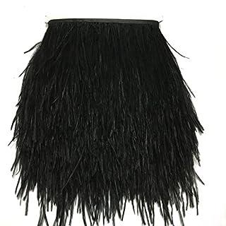 Aababuy 4,6m en plumes d'autruche Trim 4–15,2cm Bande de plumes d'autruche Noir