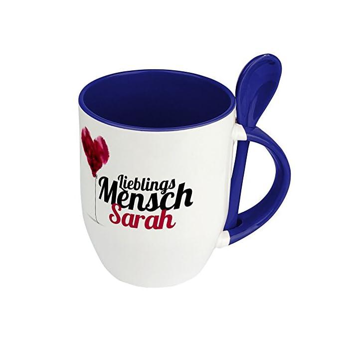 printplanet Löffeltasse mit Namen Sarah - Motiv Lieblingsmensch - Namenstasse, Kaffeebecher, Mug, Becher, Kaffeetasse…