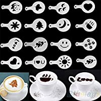 16pcs plantillas para decoración de café Pad Duster spray para Latte Cappuccino Cupcake Cookie plantillas