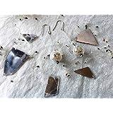 Orecchini pendenti con perla di vetro e semi di clematide - gioielli naturali - ispirazioni bucoliche - botanical jewelry