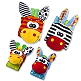 Enlarge toy image: VALUE MAKERS Baby Rattle Toys - Cute Animal Infant 4pcs(2pcs Waist and 2pcs Socks) Soft Wrist Bell Strap Rattles and Foot Socks Finder Set Developmental Soft Toys for Kids