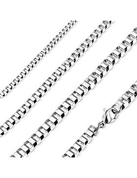 Halskette aus Stahl–Kette Quadratisch 50cm lang–Breite Mesh 4mm–Herrenschmuck