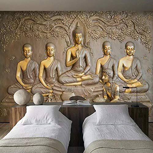 Custom Wall Paper 3D Embossed Golden Buddha Statue Gray Background Wall Mural Wallpapers for Living Room Home Decor 3D Wallpaper,200 * 140cm