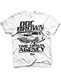 Officiellement Sous Licence Doc Brown Time Travel Agency Hommes T-Shirt (Blanc)