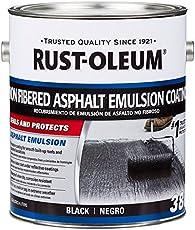 Rust-Oleum 301908 Damp Proof Paint - Roofing 380 Non-Fibered Asphalt Emulsion Roof Coating - 3.4 Liters (Black)