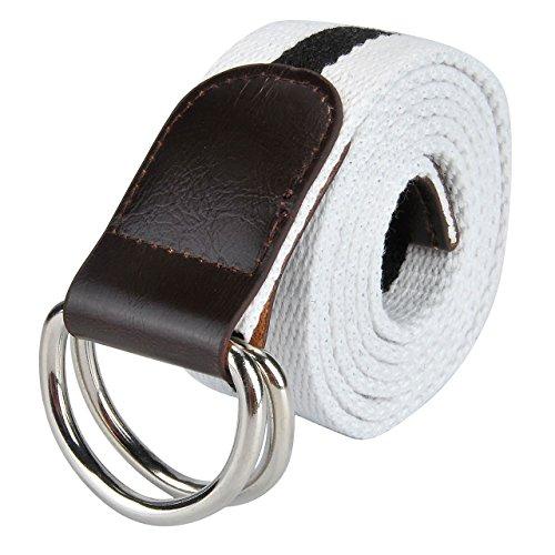 Faleto Herren Damen Gestreift Gürtel Stoffgürtel mit Doppel D-ringe Schnalle Leinwand Canvas Jeansgürtel Belts 120cm + Original Geschenkbox (#08) -